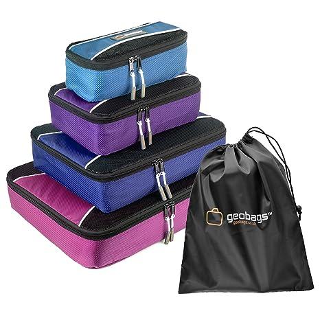 Cubos de empaquetado GeoBags® - Bolsas de equipaje organizadoras para viajes - set de 5 piezas - bolsa para zapatos - Totalmente forrado - Cremalleras ...