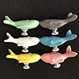SunKni 6Pcs Ceramic Knobs for Drawer Cabinet Dresser, Animal Handles Pulls for Closet Wardrobe Cupboard Kitchen Door Furniture with Free Screws New Sets Pack of 6 Different Colors (Fish)