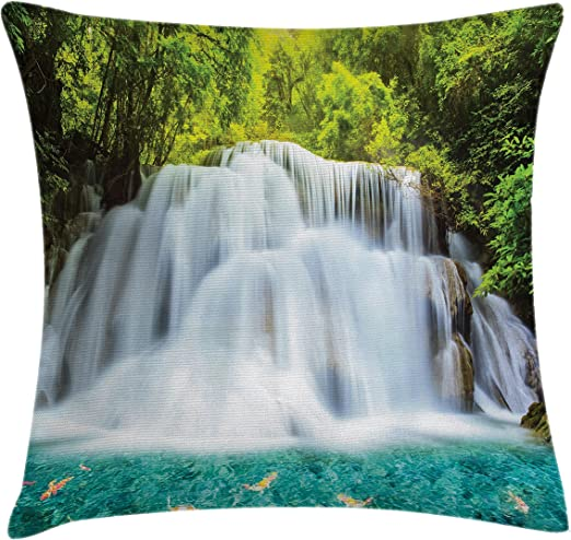 Amazon Com Ambesonne Waterfall Throw Pillow Cushion Cover Clouds Of Fog Rolling Over Waterfall And Trees Clear Pond With Fishes Decorative Square Accent Pillow Case 16 X 16 Turquoise Green White Home