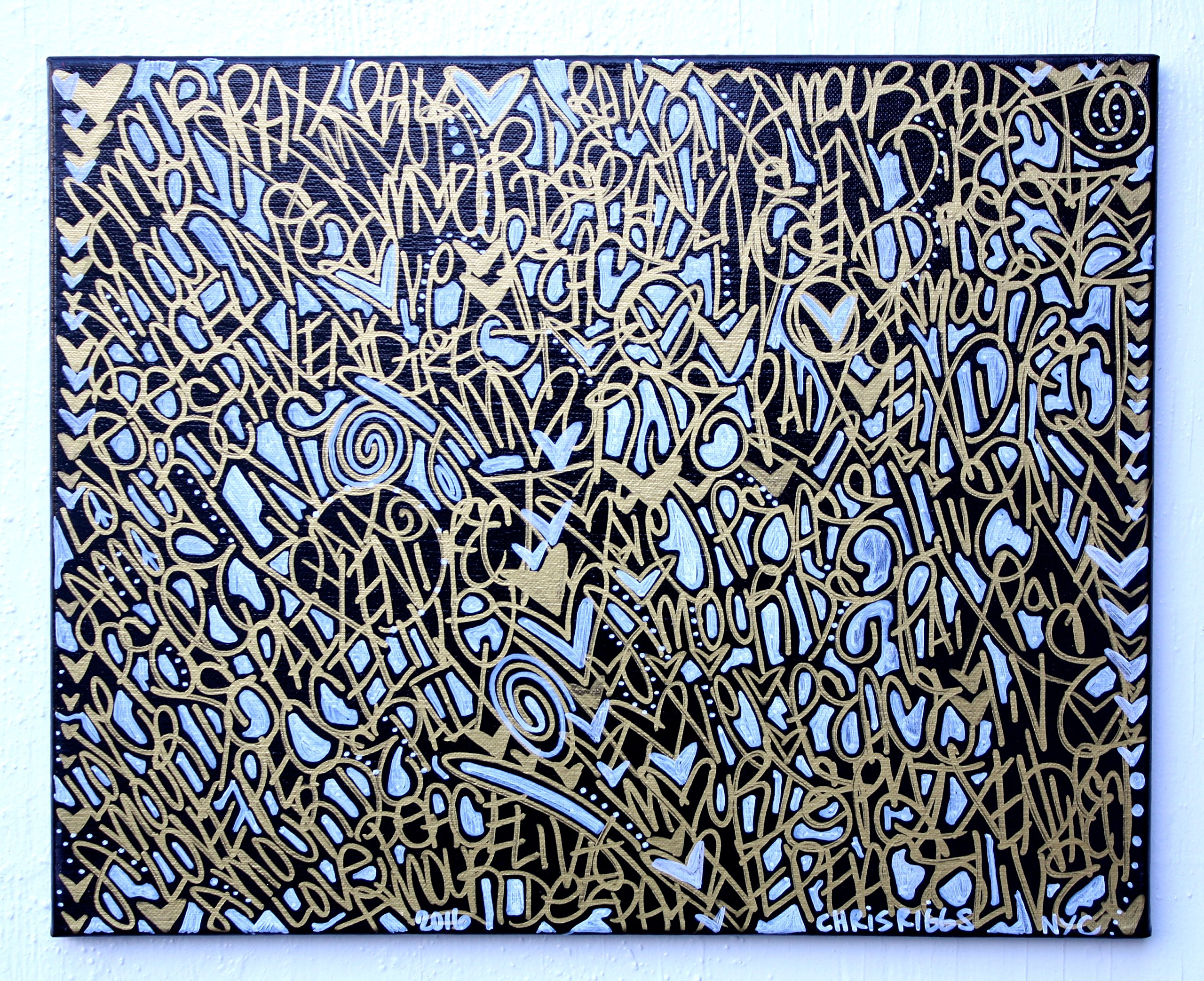 CHRIS RIGGS Original Love Peace Paix Amour french gold fine art painting 16'' x 20'' pop street art spray paint NYC acrylic contemporary modern art urban canvas by Chris Riggs Art Gallery (Image #1)