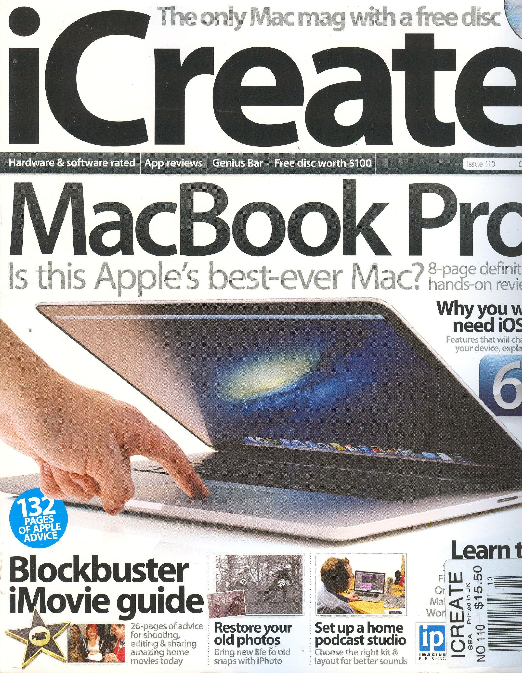 iCReate Magazine # 110 (2012, MacBook Pro, Blockbuster iMovie Guide