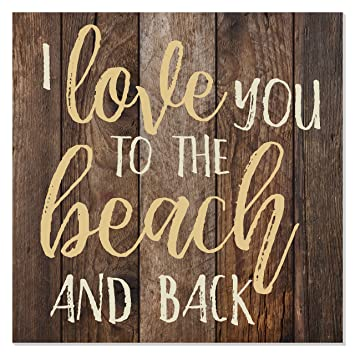 MRC Wood Products I Love You to The Beach and Back Wooden Wall Sign 12x12 (Brown)