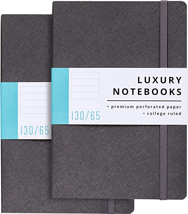 2 Pack Luxury Notebook Lined Journal - 130 Perforated Pages - Thick Paper (120 gsm) - Lay Flat Design - 2 Bookmarks - Elastic Closure - Back Pocket, Set of 2, Softcover, Steel Gray (College Ruled)
