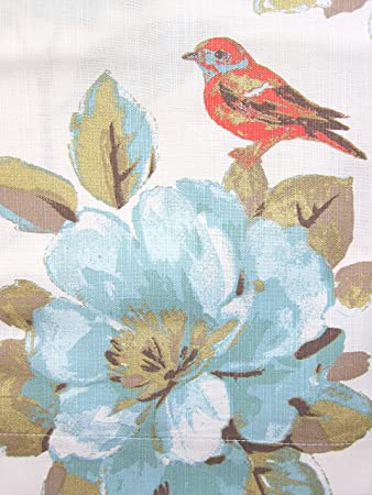 Kitchen Curtains bird kitchen curtains : Amazon.com: Envogue Window Curtains Birds Large Flowers 50-by-96 ...