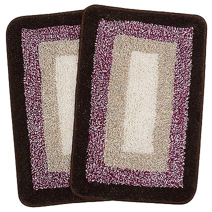 Saral Home Soft Cotton Anti Slip Bathmat (35x50 Cm,Set Of 2,Brown)