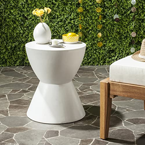 Safavieh Outdoor Collection Athena Modern Concrete Round 17.7-inch Accent Table Ivory