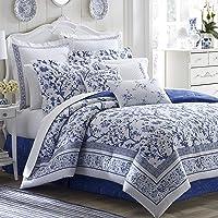 Laura Ashley Duvet Cover Set, USHSFN1065066, Cotton, Medium Blue, Full/Queen