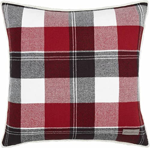Eddie Bauer Lodge Collection Super Soft and Cozy Classic Plaid Design Decorative Throw Pillow Sham, Easy Care Machine Washable, 20 x 20 , Red Black