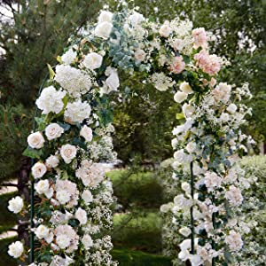 Linnai Products 7.75 FT Lightweight Metal Arch/Garden Arbor; Great for Weddings, Bridal Showers, Lawn Parties, Gardens, Flowers, Vines, and Outdoor and Indoor Decorations; Easy to Assemble, Black