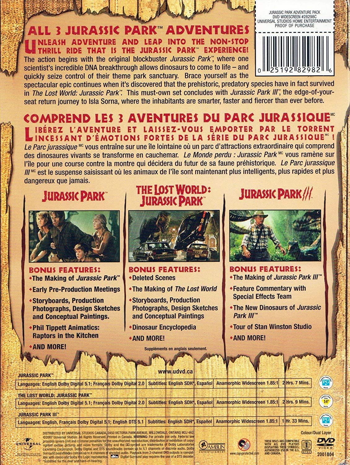 Jurassic Park III [USA] [DVD]: Amazon.es: Jurassic Park Adventure Pack: Cine y Series TV