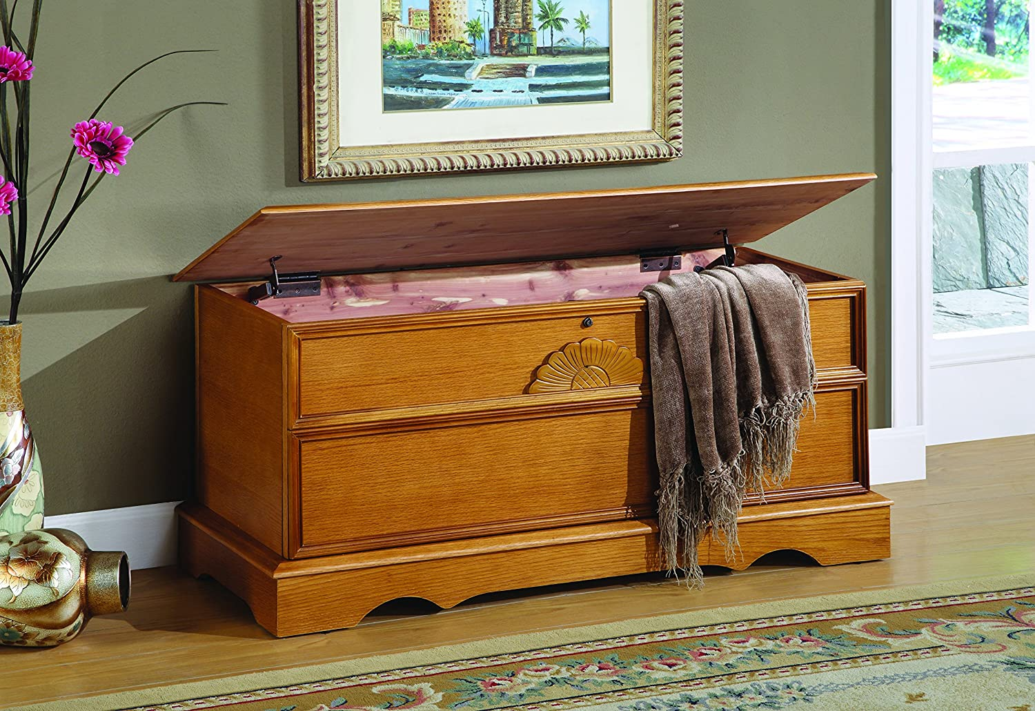 Cedar Chest with Locking Lid Honey Coaster CFF-060-P