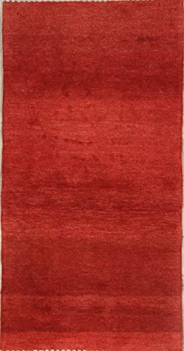 Rug Source One-of-A-Kind New Gabbeh Modern Tribal Hand-Knotted 3×5 Red Wool Persian Area Rug 5 0 X 2 8