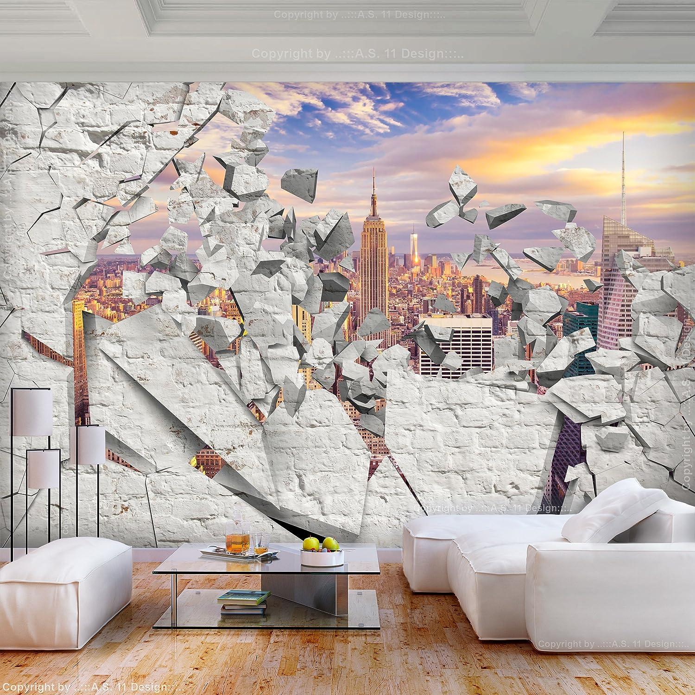 decomonkey Fototapete 3d Effekt New York 350x256 cm XL Tapete Fototapeten Vlies Tapeten Vliestapete Wandtapete moderne Wandbild Wand Schlafzimmer Wohnzimmer Steinwand Stein Architektur City