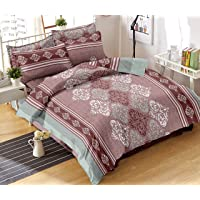 Trance Home Linen 100% Cotton 200Tc Premium Printed Single Flat Bed Sheet with 1 Pillow Cover