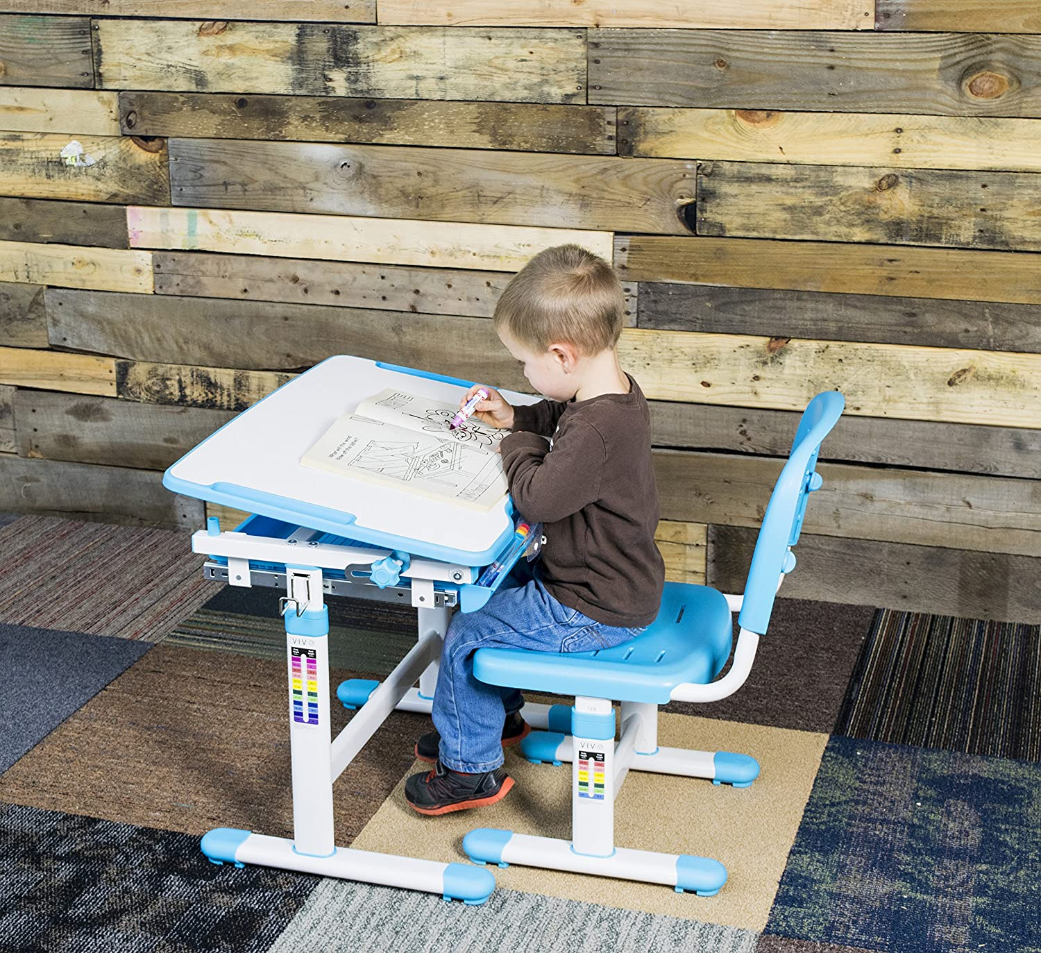 VIVO Height Adjustable Childrens Desk & Chair Kids Interactive
