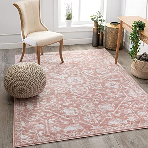 "Well Woven Della Blush Vintage Medallion Pattern Area Rug 5x7 5'3"" x 7'3"""