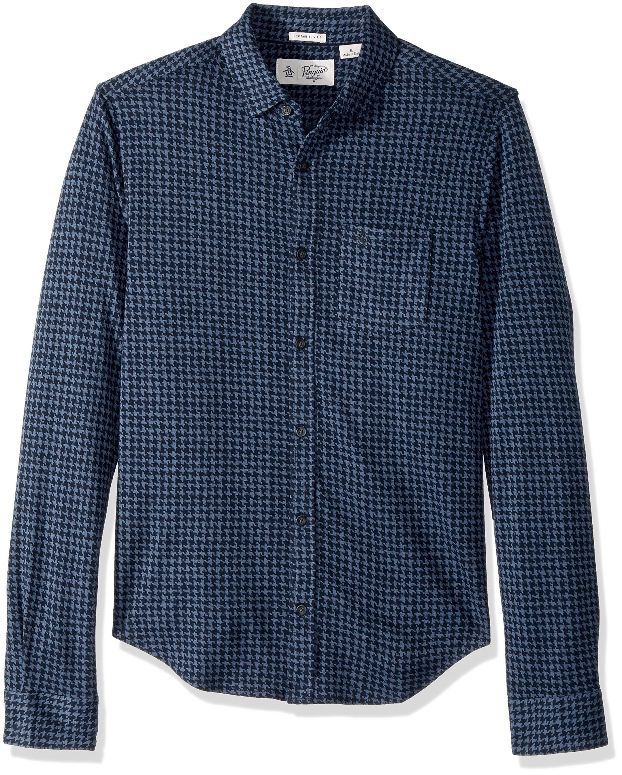Original Penguin Men's Jacquard Houndstooth Shirt, Dark Sapphire, Large