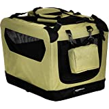 AmazonBasics Premium Folding Portable Soft Pet Dog Crate Carrier Kennel - 21 x 15 x 15 Inches, Khaki
