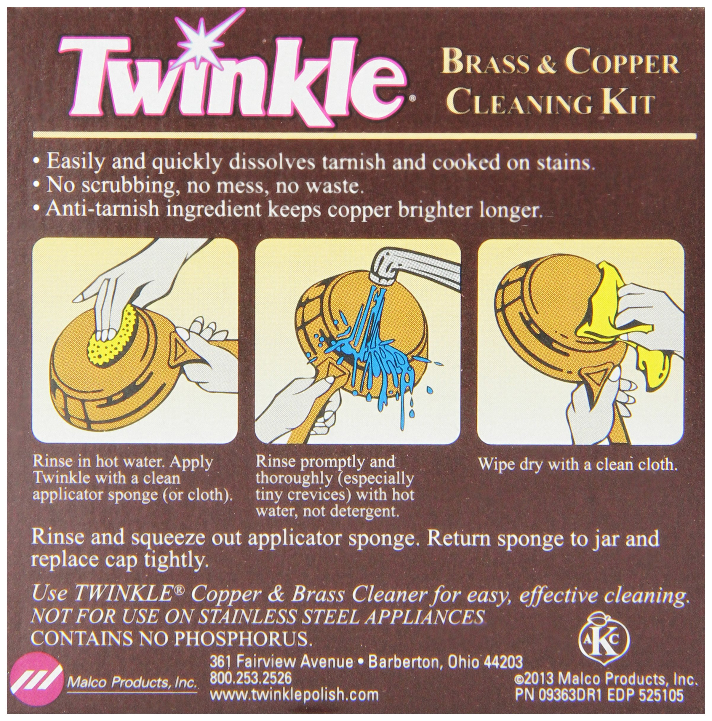 Twinkle Brass & Copper Cleaning Kit, Easy Effective Cream Formula, 4 3/8-Ounce Box (Pack of 12) by Twinkle