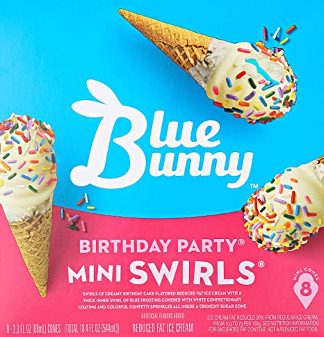 Blue Bunny Mini Swirls Cones Birthday Party 184 Oz Frozen Amazon Grocery Gourmet Food