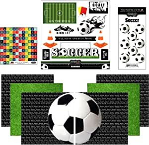 3 sheets SOCCER Jersey Ball ALL STAR Scrapbook Stickers!