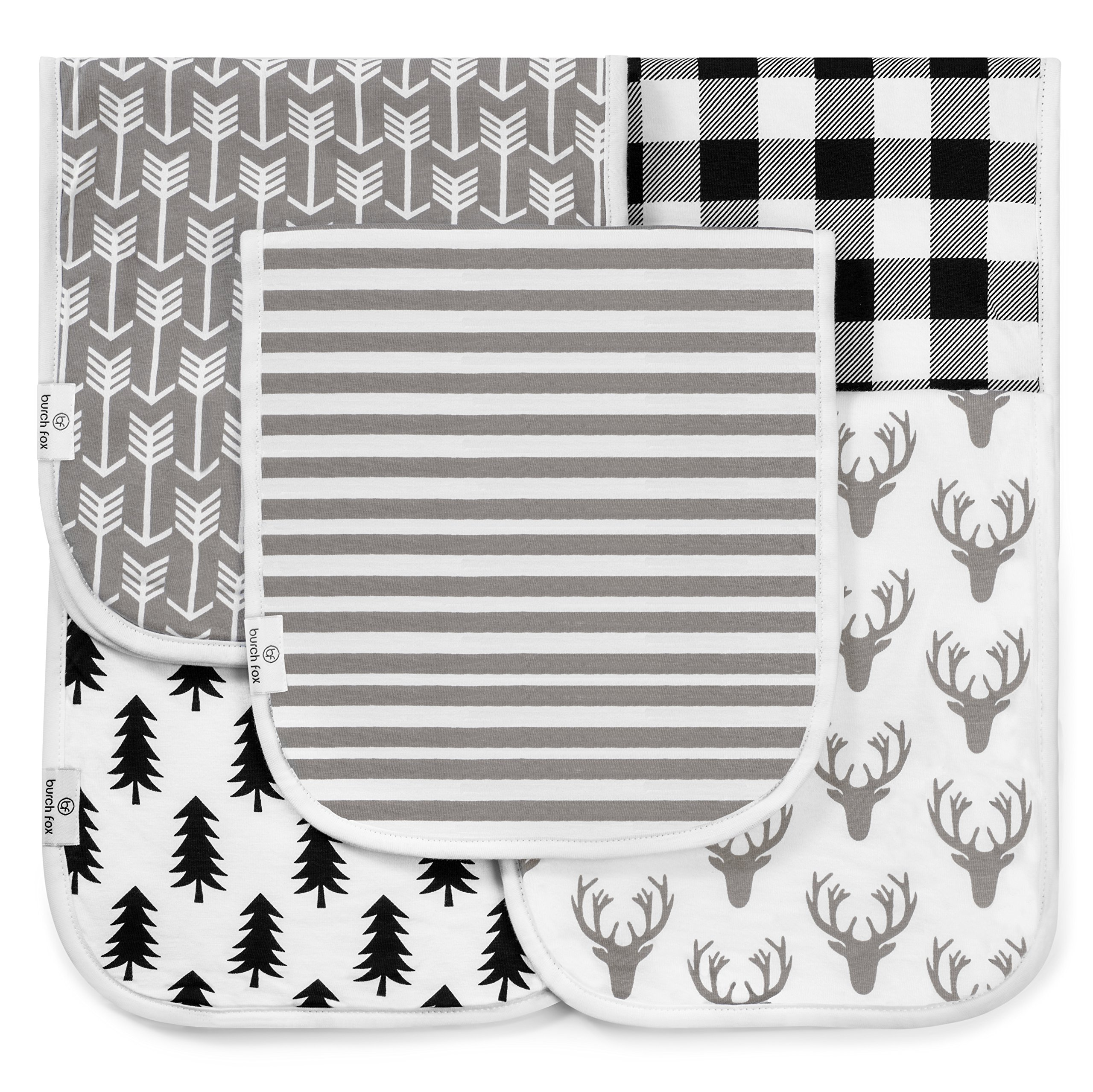Baby Burp Cloths for Girls and Boys, 5 Pack Set, 100% Organic Cotton, Large 21'' x 10'' Burping rags, 3 Layer, Thick, Absorbent and Super Soft, Unisex Woodland Design in White, Gray, Black, by Burch Fox