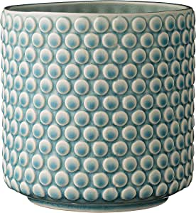 """Bloomingville A75100047 Stoneware Pot with Raised Polka Dot Design, 6"""", Sky Blue"""
