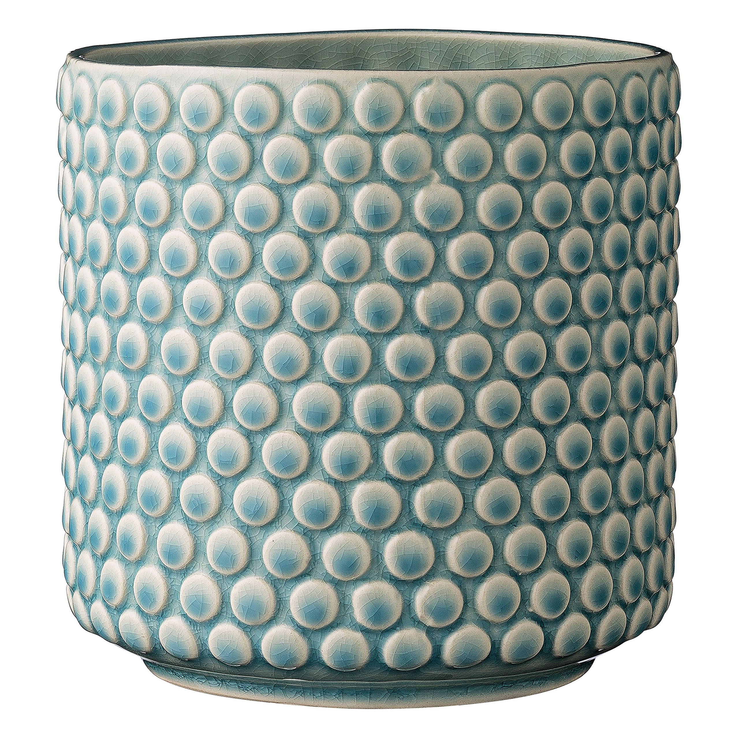 "Bloomingville A75100047 Stoneware Pot with Raised Polka Dot Design, 6"", Sky Blue"