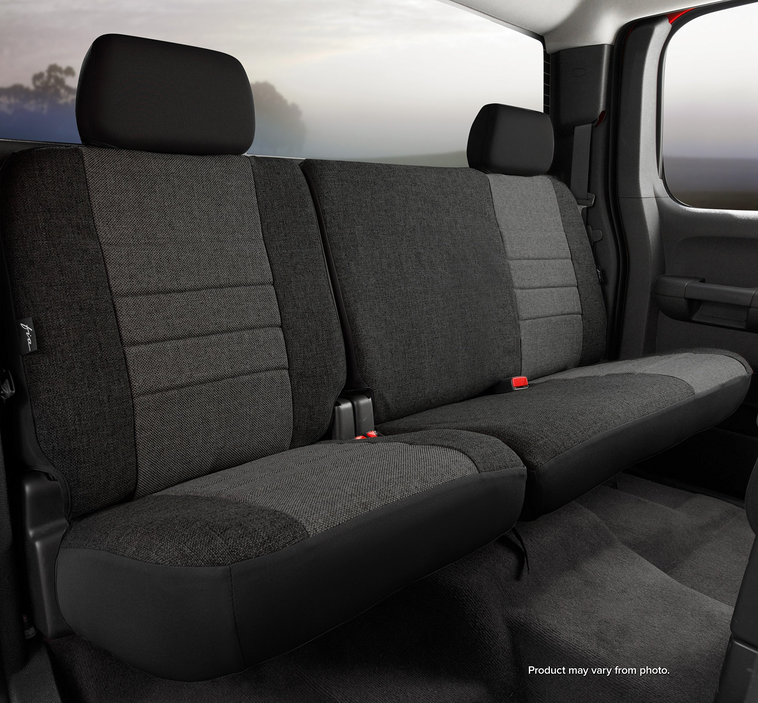 Fia OE32-38 CHARC Custom Fit Rear Seat Cover Split Seat 60/40  - Tweed (Charcoal)