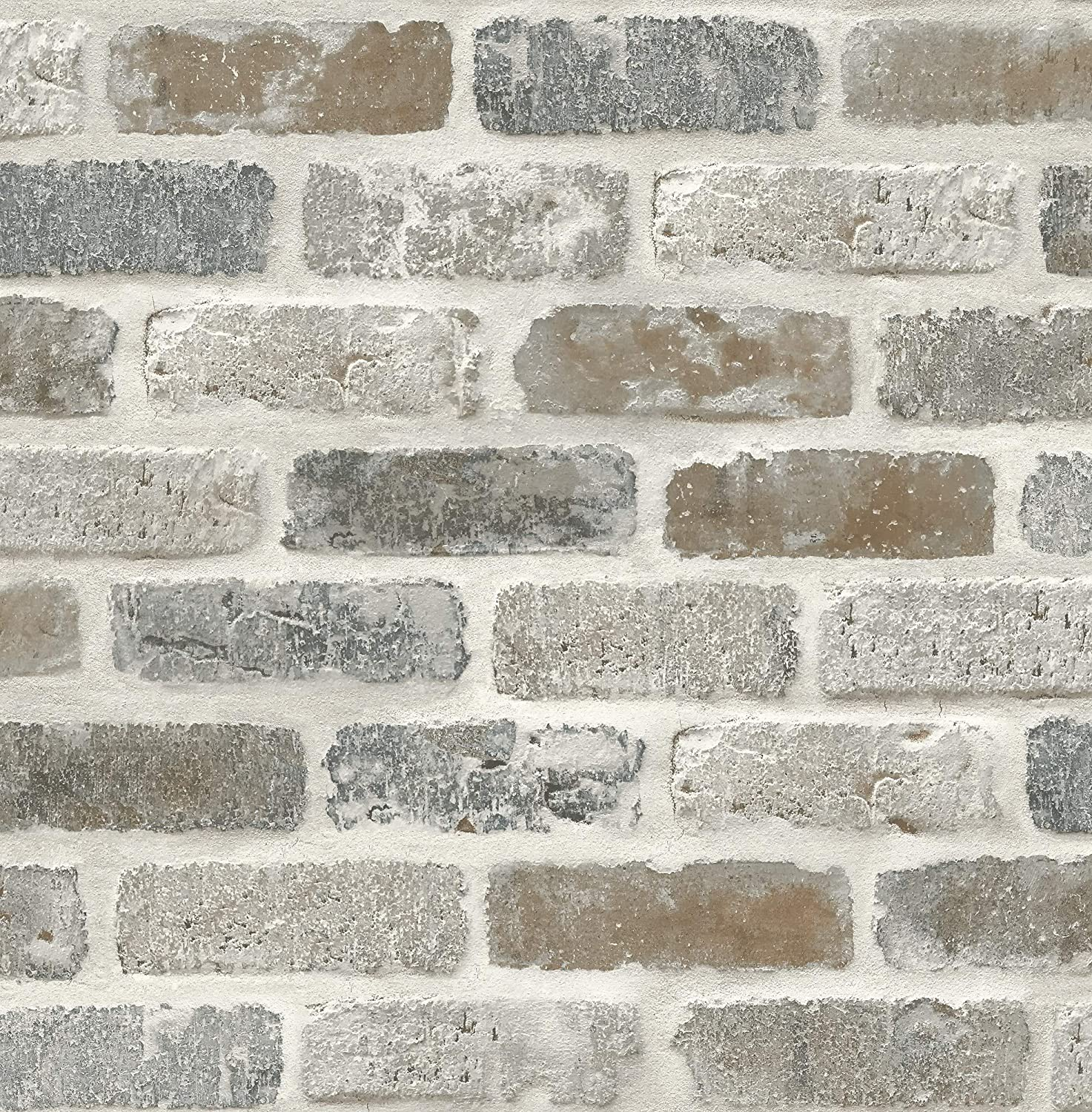 Washed Faux Brick Wallpaper Peel Stick Gw1003 White Gray Brown