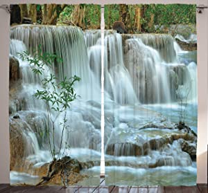 "Ambesonne Nature Curtains, Waterfall Bamboo Tree Japanese Style Garden View Picture Print Jungle Stream, Living Room Bedroom Window Drapes 2 Panel Set, 108"" X 84"", Green Brown"