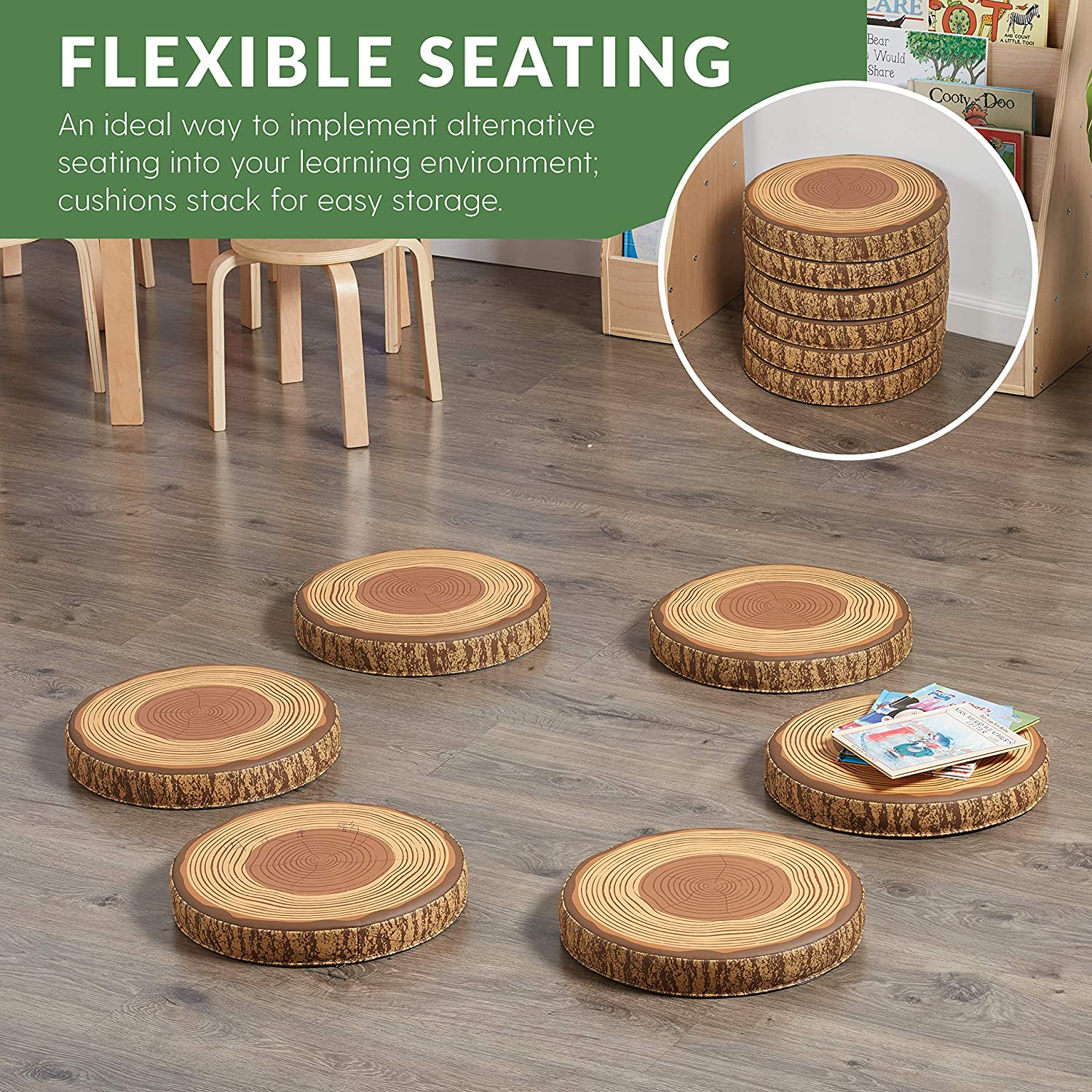 Flexible Alternative Classroom Seating for Kids ECR4Kids SoftZone Tree Floor Cushions 6-Pack 1.75 inch Thick Deluxe Foam Seat