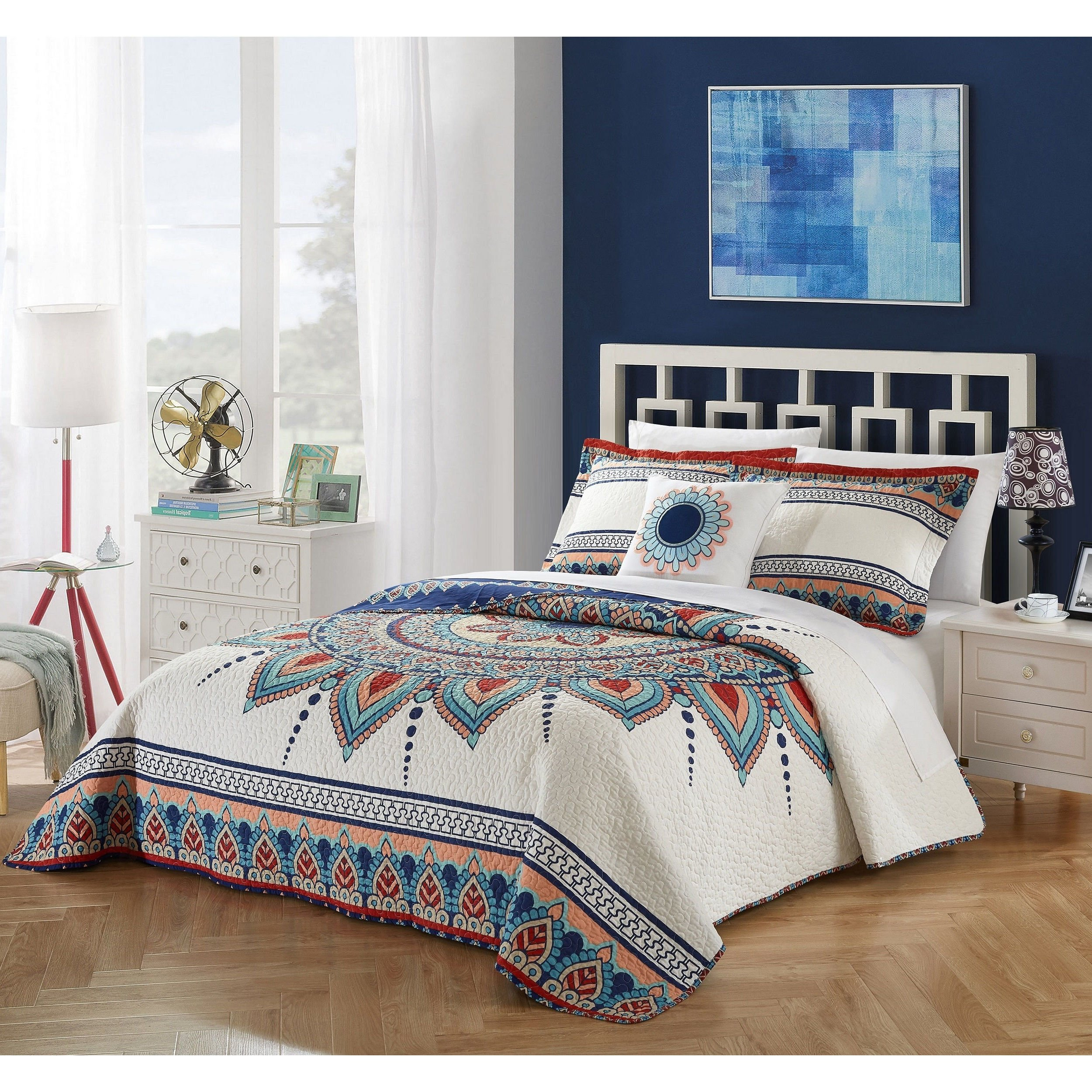 4 Piece Stunning White Navy Blue Red Orange Queen Quilt Set, Aztec Mandala Themed Reversible Bedding Vibrant Artistic Aqua Bright Hippie Bohemian Boho Pretty Contemporary Psychedelic Abstract, Cotton