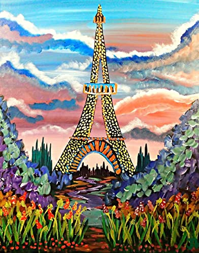 Pink Sunset Eiffel Tower Acrylic Painting 16 X 20 Stretched Canvas Floral Bright Colors Pastel