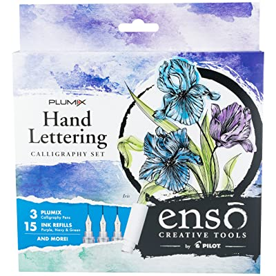 Pilot Enso Plumix Hand Lettering Calligraphy Set, Iris - Exclusive Kit!; Artful Writing Collection; 3 Finely Crafted Nib Sizes: (Fine .44mm, Medium .58mm, Broad .7mm); (10687): Office Products
