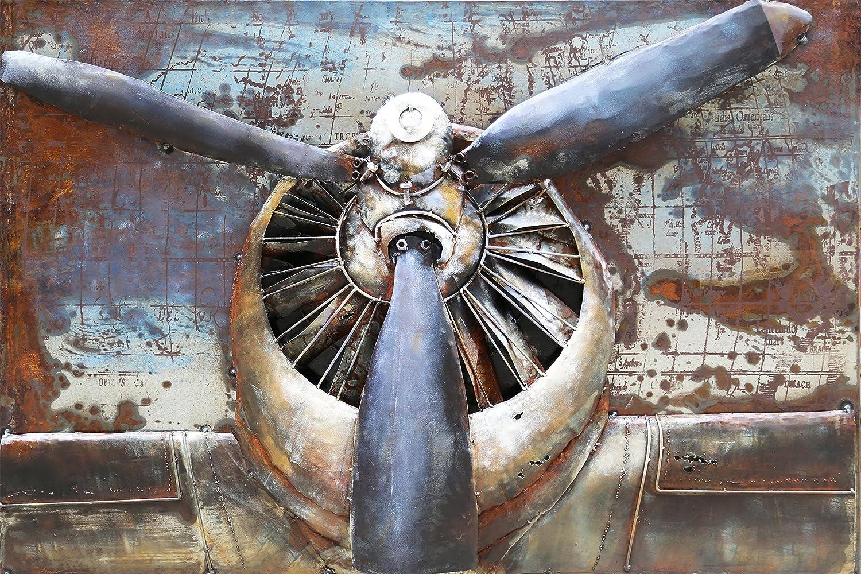 The Wood Times Wandbild XXL 3D Metallbild Propeller Metallbild Modern, BxHxT 120x80x3 cm
