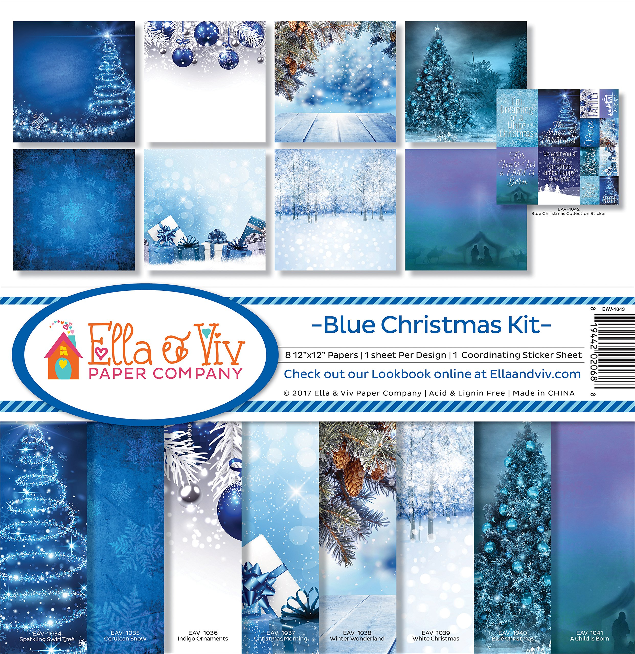 Ella & Viv by Reminisce Blue Christmas Scrapbook Collection Kit by Ella & Viv by Reminisce
