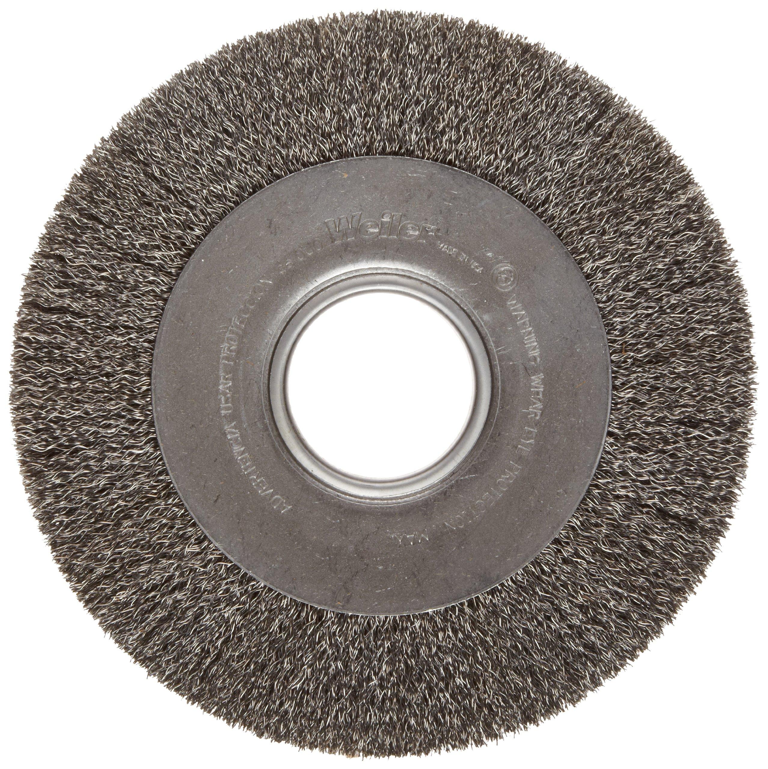 Weiler Trulock Medium Face Wire Wheel Brush, Round Hole, Steel, Crimped Wire, 8'' Diameter, 0.014'' Wire Diameter, 2'' Arbor, 1-3/8'' Bristle Length, 1'' Brush Face Width, 4500 rpm by Weiler