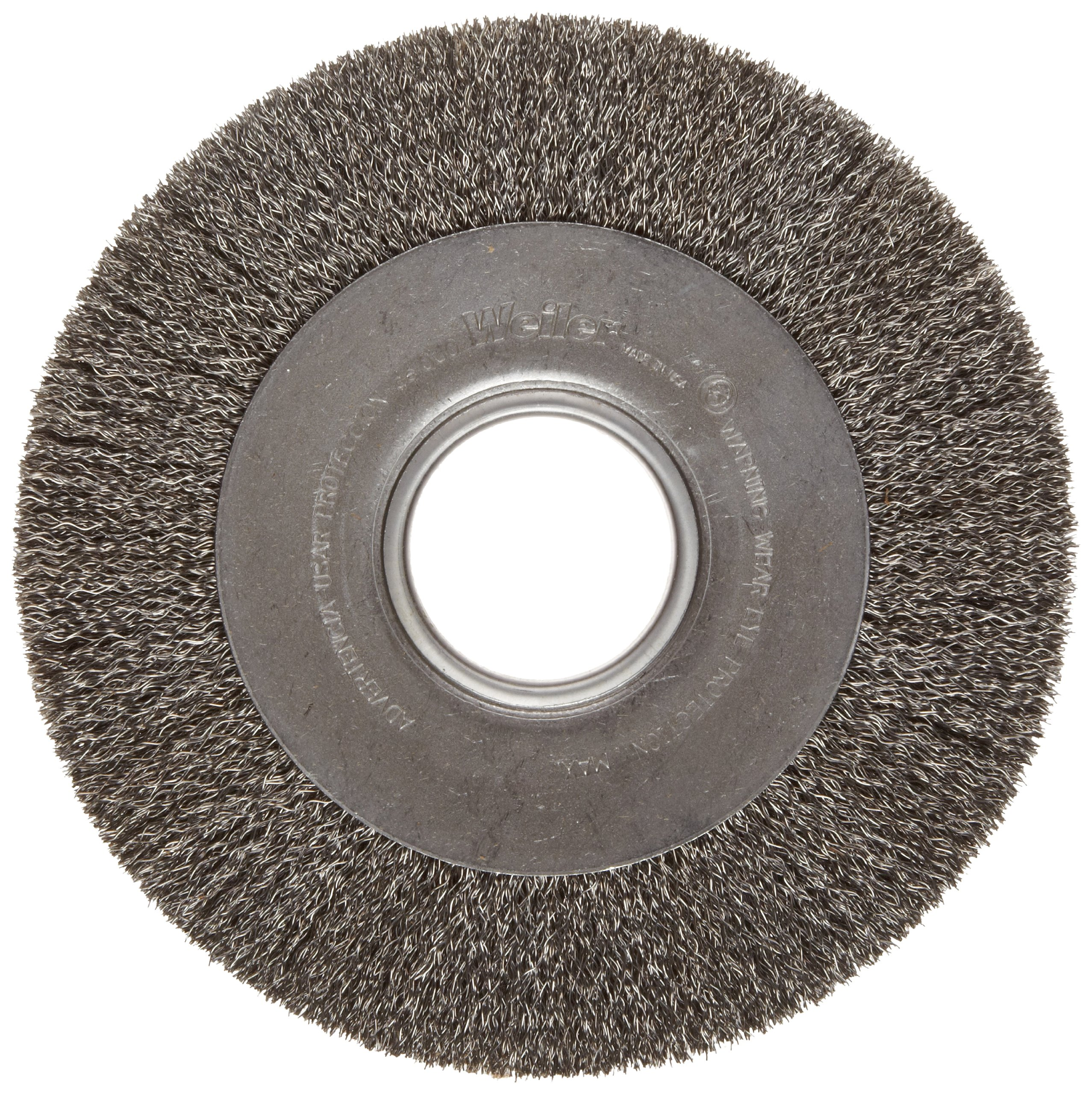 Weiler Trulock Medium Face Wire Wheel Brush, Round Hole, Steel, Crimped Wire, 8'' Diameter, 0.014'' Wire Diameter, 2'' Arbor, 1-3/8'' Bristle Length, 1'' Brush Face Width, 4500 rpm