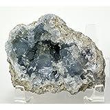 HC Set: 79mm Celestite Crystal Freeform Natural Ice Sky Blue Sparkling Druzy Cluster Quartz Mineral Geode Celestine Stone - Madagascar + One Polished Clear Quartz Cabochon