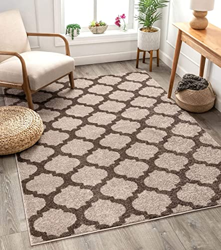 Tinsley Trellis Ivory Beige Moroccan Lattice Modern Geometric Pattern 3×5 3 11 x 5 3 Area Rug Soft Shed Free Easy to Clean Stain Resistant