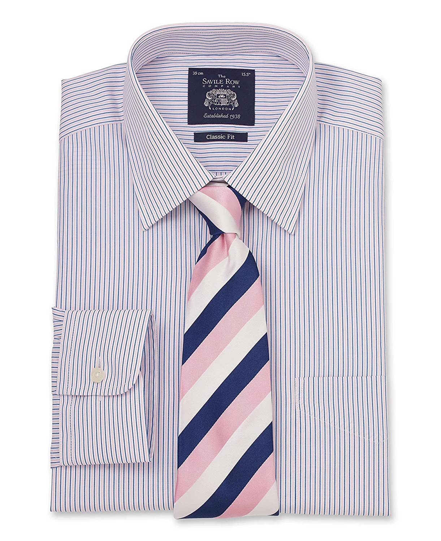 Savile Row Mens Pink Navy White Fine Stripe Classic Fit Shirt Barrel Cuff
