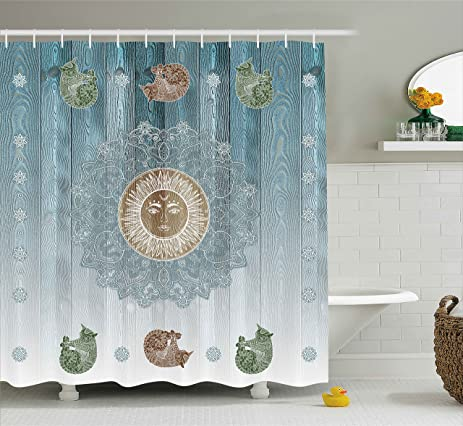 Hippie Shower Curtain By Ambesonne Ancient Sun Figure With Cats Spiritual Sacred Belief Totem Boho