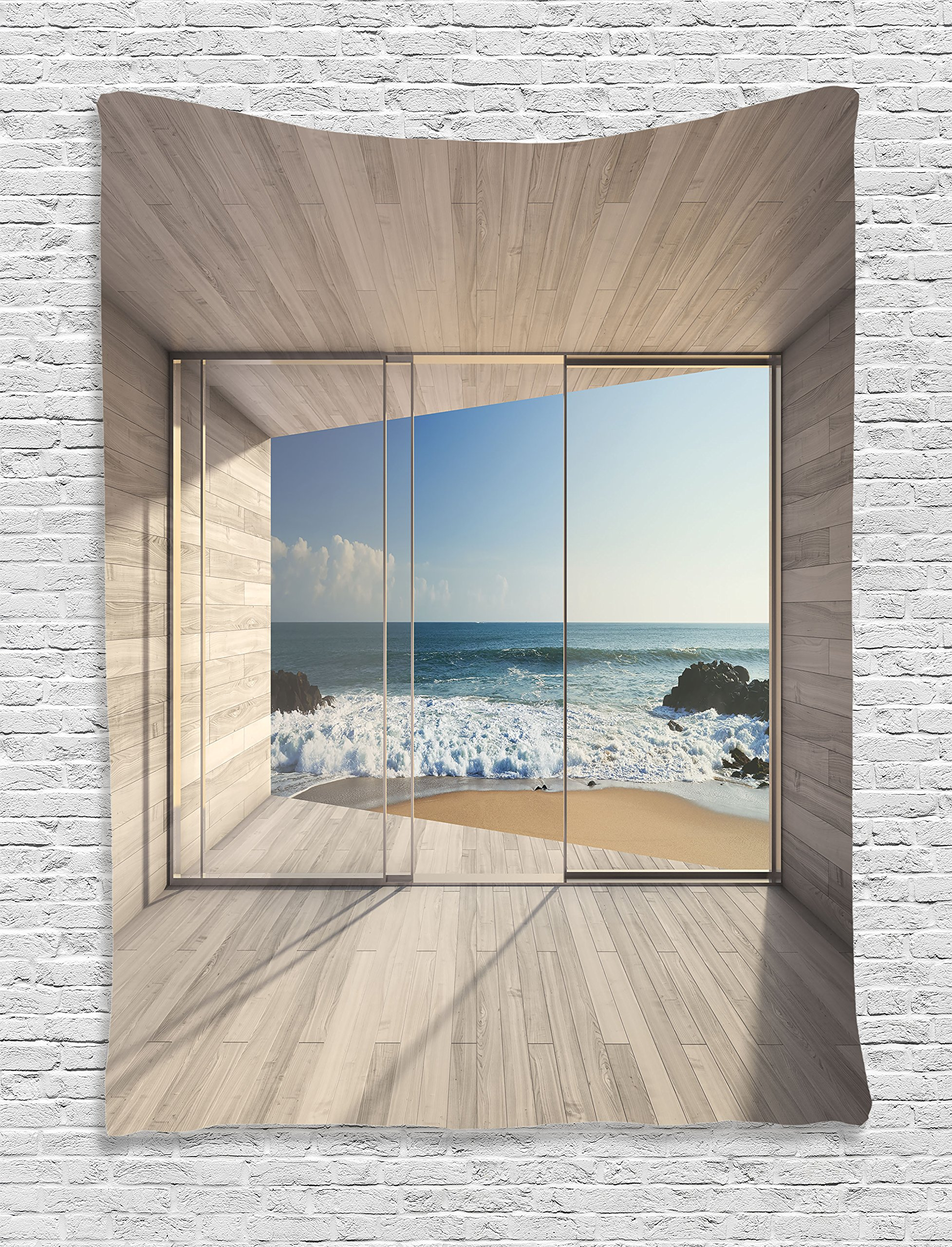 Ambesonne House Decor Collection, Empty Modern Lounge Area with Large Window and View of Sea Waves Rocks Image Pattern, Bedroom Living Room Dorm Wall Hanging Tapestry, Tan Blue