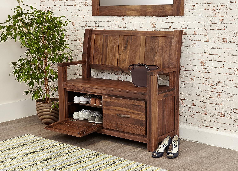 strathmore solid walnut furniture shoe cupboard cabinet. Baumhaus Mayan Walnut Monks Bench With Shoe Storage: Amazon.co.uk: Kitchen \u0026 Home Strathmore Solid Furniture Cupboard Cabinet R