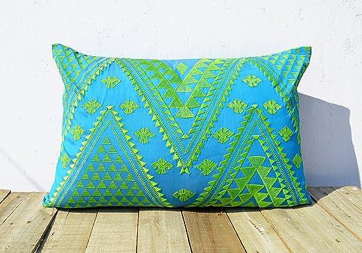 VLiving Kilim patrón bordado almohada turquesa y verde ...