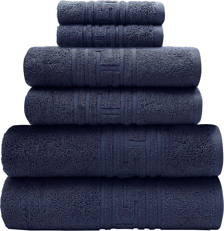 : 6 Piece Bath Set -2 Bath Towels, 2 Hand Towels & 2 Wash Cloths - 100% Cotton - 520 GSM – Greek Key Border- Soft & Absorbent (Navy, Greek Key Border)