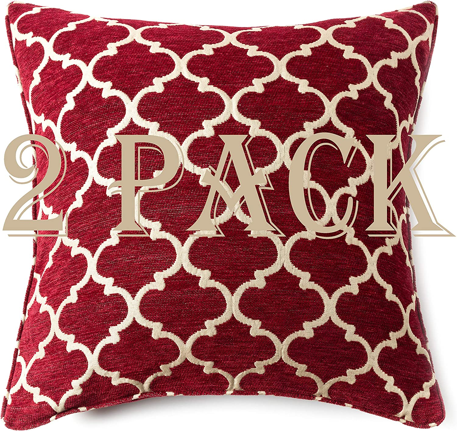 "Randall Geometric Throw Pillow Covers 20"" x 20"" Diamond-Pattern Cozy Cushion Covers for Modern Decoration Room Bedroom Sofa Chair Car- 2 Pack, Red"