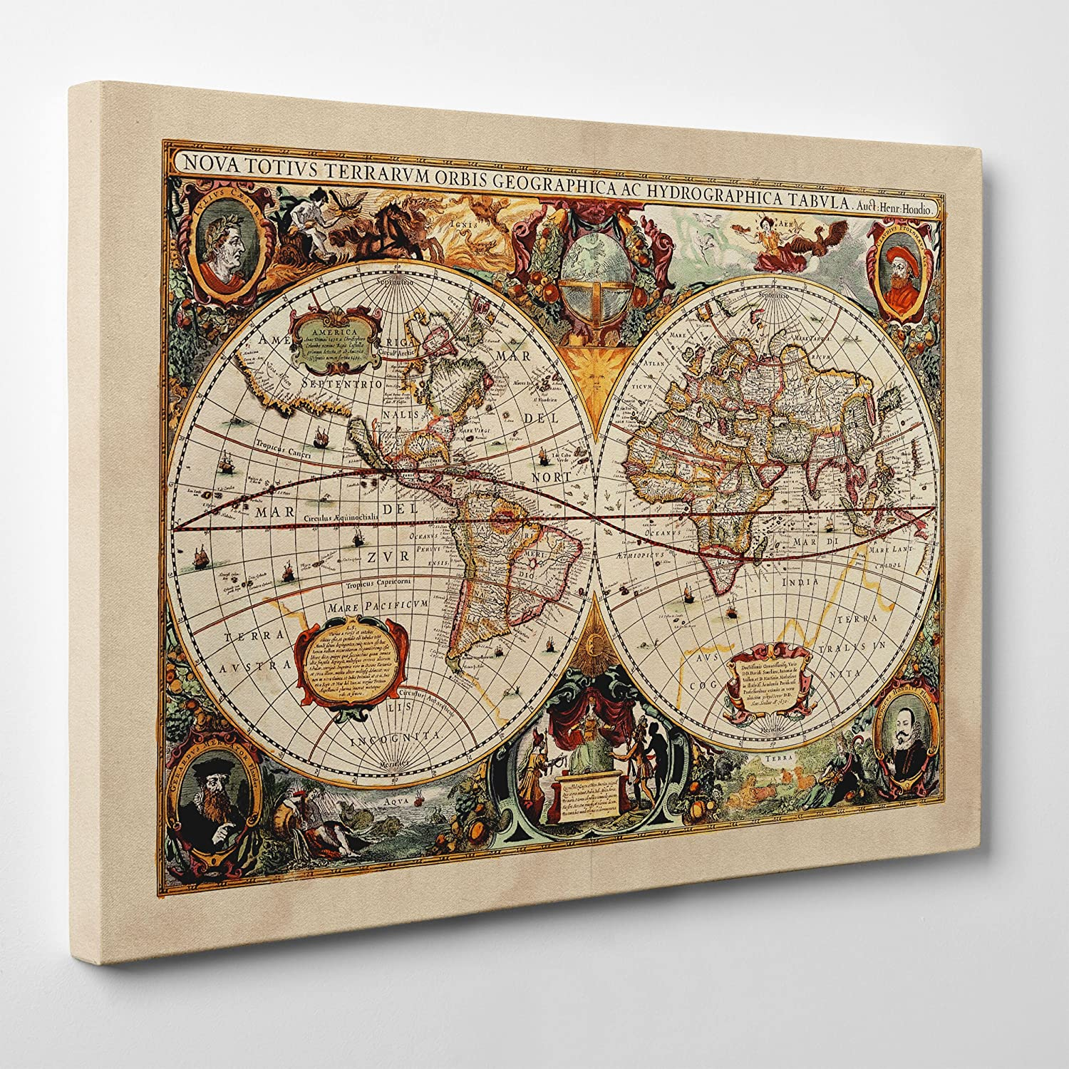 Quadro Cartina Mondo.Quadro Su Tela Intelaiato Antica Mappa 1646 Mondo World Map Cartina Geografica 70x100cm Spessore 2cm Amazon It Casa E Cucina