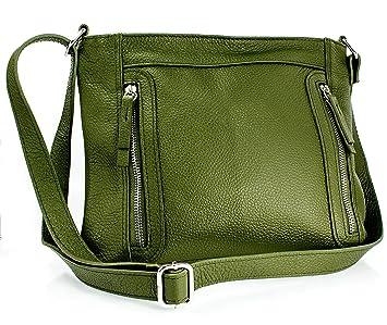 faaa0e012832e Echt Leder Ledertasche Umhängetasche Handtasche Schultertasche Khaki grün